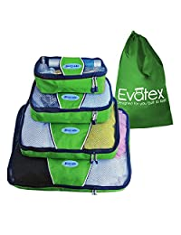 Packing Cubes   Travel Packing Cubes, 4pc Set   Packing Cubes for Travel  For Different Purposes, Cosmetic Bag   Toiletry Bag   Makeup Bag   Travel Bag   Luggage   Top Quality and Affordable with 100% No Hassles Refund! (Go Green)
