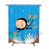 Shower Curtain for Kids Bathroom Decor with Boy Swimming Scuba Diving Underwater in Sea Blue Ocean with Fish and Goggles Tapestry 70X72 Inches Free Rings 100% Polyester Water Resistant Metal Grommets