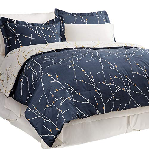 Bedsure King Comforter Sets Comforters for King Bed King Bed in A Bag 8 Pieces Navy Blue Tree Branch -1 Comforter, 2…
