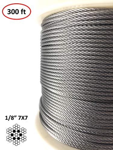 (300 Ft | 1/8 inch Stainless Steel Aircraft Wire Rope for Deck Cable Railing Cable | 7x7 300Feet T316 Marine Grade)