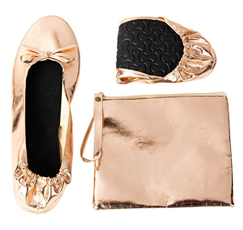 (Foldable Ballet Flats - Women's Portable Ballerina Roll up Shoes with Pouch, Rose Gold, L)