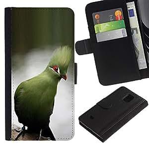KLONGSHOP / Tirón de la caja Cartera de cuero con ranuras para tarjetas - Tropical Lake Water Branch - Samsung Galaxy S5 Mini, SM-G800, NOT S5 REGULAR!