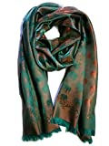 New 100% Thai Silk Scarf Shawl Wrap Elephant Orange Sea Green Chartreuse 74'' X 27.5'' Large