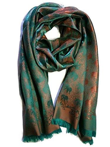 New 100% Thai Silk Scarf Shawl Wrap Elephant Orange Sea Green Chartreuse 74'' X 27.5'' Large by Timeshop91