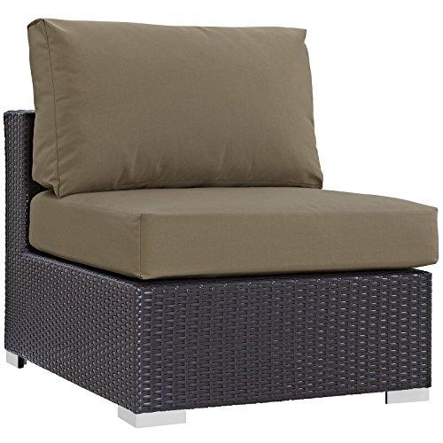 Modway Convene Wicker Rattan Outdoor Patio Sectional Sofa Armless Chair in Espresso Mocha
