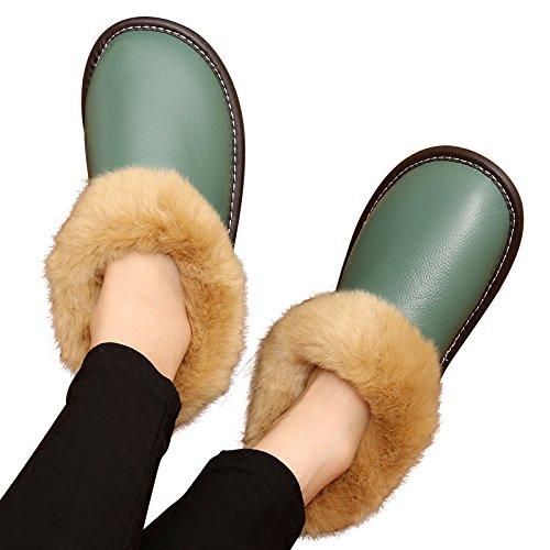 Il primo strato di caldo inverno cotone pantofole uomini e donne matura soggiorno spessa invernale, antiscivolo cinghia seguito dal pacchetto con scarpe di cotone ,26= (35-36), il lago verde