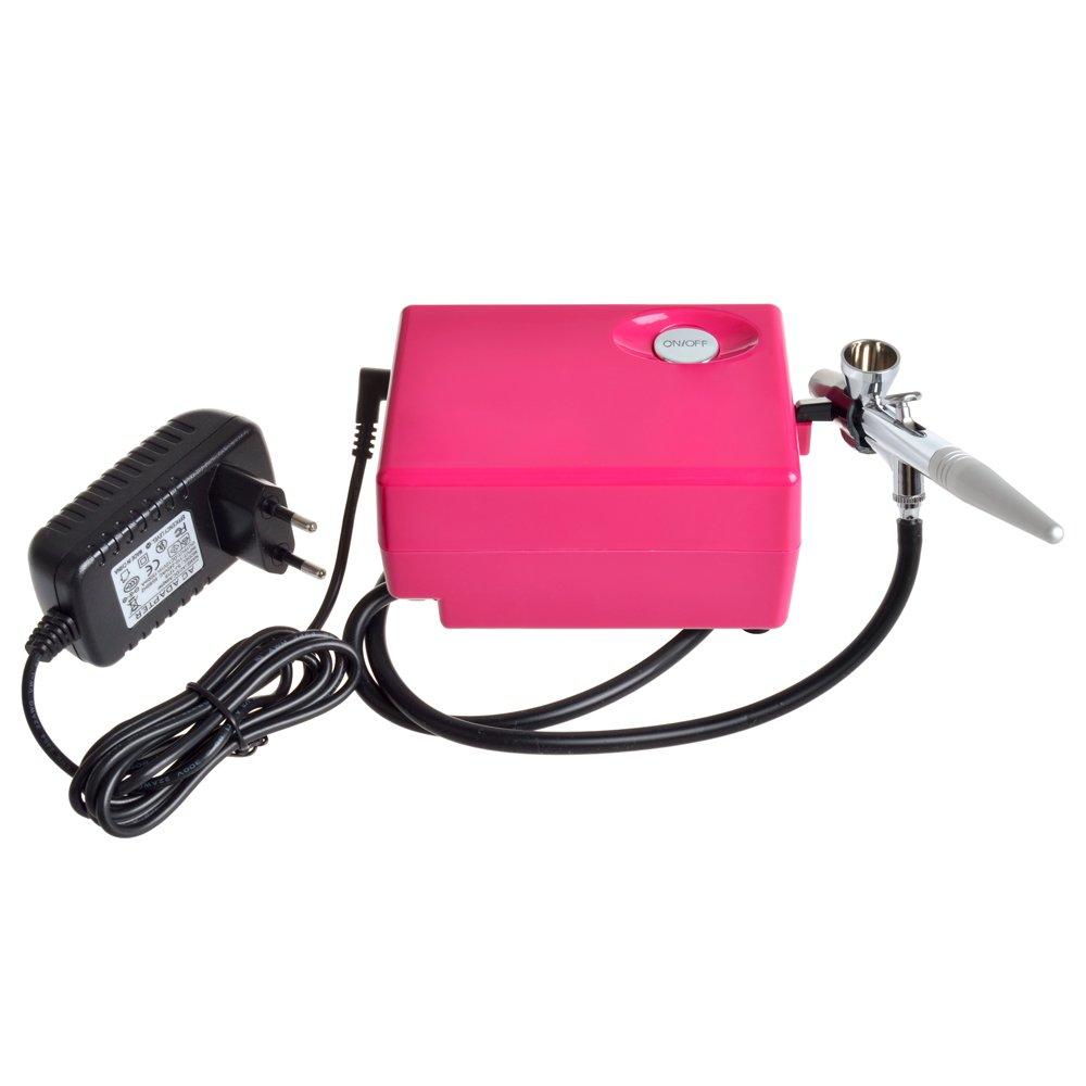 StarsTech Airbrush Makeup Machine Airbrush Compressor with 0.4mm Airbrush Spray Gun, Pink