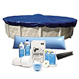 Bundle – 5 Items: 10-Year 18 ft. Round Pool Winter Cover with Cover Clips, Deluxe Pool Winterizing and Closing Chemical Kit, Winter Ball and 4 x 8 ft. Air Pillow