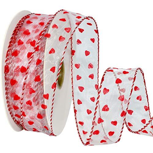 Morex Ribbon 7112 Precious Hearts Ribbon 1.5 inches by 50 Yards Red