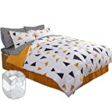 HONEYMOON HOME FASHIONS Bed in A Bag Comforter Set 6 PC Twin Bed Set, (3PC Sheet Set, 2PC Comforter Set, 1 Bed Skirt) with 1 Free Great Value Laundry Basket