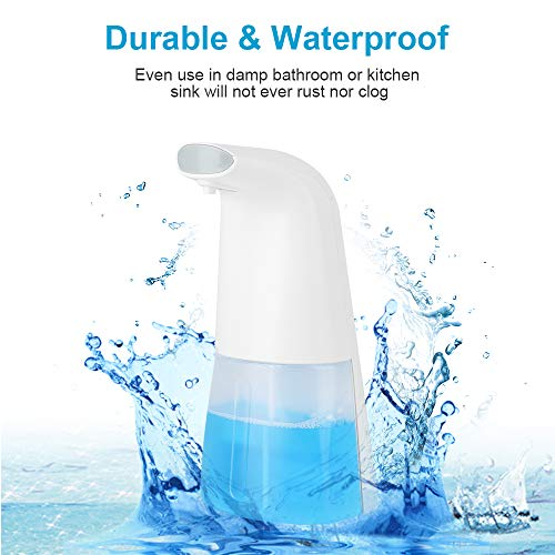 Automatic Soap Dispenser, Touchless Sensor Liquid Foaming Soap Dispenser Pump Rechargeable Soap Dispenser with Waterproof Base For Bathroom Kitchen Office, 300ml & 2 Levels Dispensing Volume