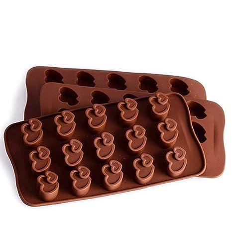 15 Incluso Doble Corazón Molde Para Hornear De Silicona No Tóxico Rejilla De Hielo De Chocolate