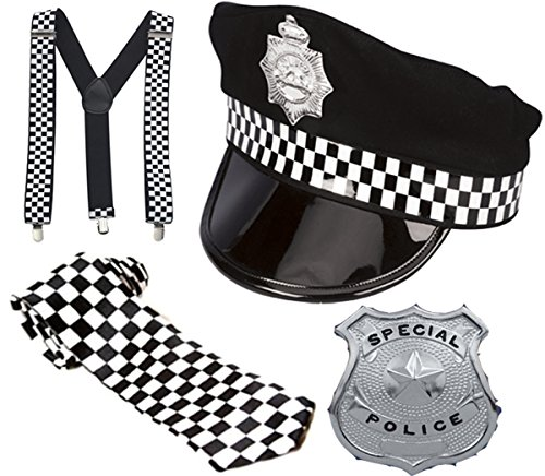 Male Policeman Costume (Glossy Look Men's Policeman Set Cop tag Do Party Police Hat Costume Kit One Size Black)