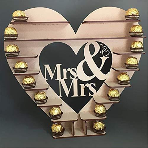 Icocol Mr&Mrs Heart Tree Chocolate Shelf Wedding Cake Display Stand Centrepiece for Wedding Decoration