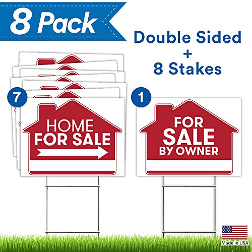 for Sale by Owner Sign - 8 Premium Yard Signs Bulk Pack - 18
