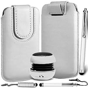 N4U Online Premium cuero de la PU del caso del tirón Tirar Tab cubierta de bolsa Con magnética Cierre de correa, Mini Altavoz Portátil y 3 Pack Stylus Pen Bundle Para Huawei Ascend G300 - Blanco