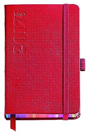 Miquelrius 31094 - Agenda anual cosida, 90 x 140 mm, día página rigid red con corte rayas