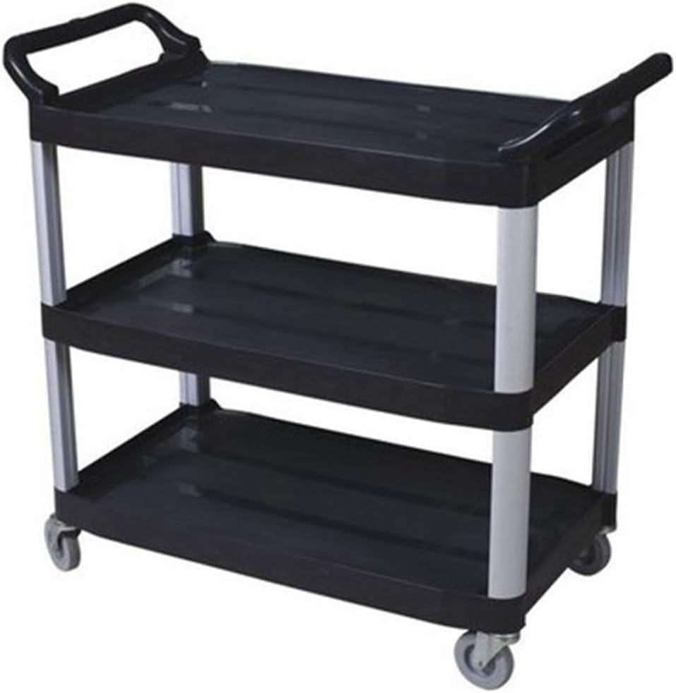 FixtureDisplays Foodservice Cart 330lbs Capaticy 3 Shelf Utility Cart Push Transfer Storage Tray Mobile Tool Bus Cart 33 X 17 X 38