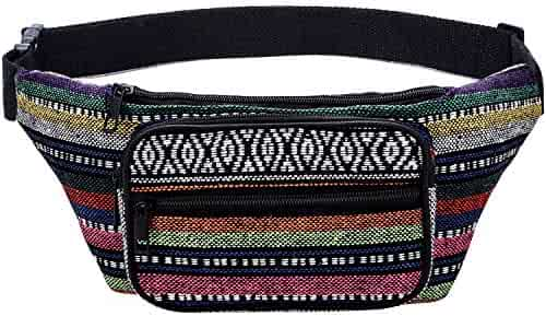 Kayhoma Boho Fanny Pack Stripe Festival Bum Bags Travel Hiking Hip Bum Waist Bag