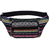Kayhoma Boho Fanny Pack Stripe Festival Retro Vintage Flat Bum Bags Travel Hiking Hip Waist Bag
