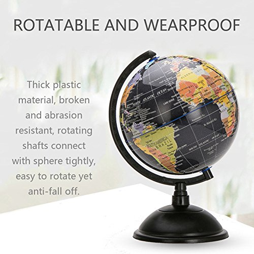 HaloVa World Globe, Desktop 8 inch Spinning Globe with Stand for Kids Students Teachers Geographic Scout Bedroom Decor Educational Gift, Black by HaloVa (Image #3)