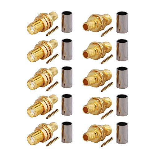(Bingfu Reverse Polarity RP SMA Female Bulkhead Mount Crimp Solder Attachment 50 Ohm Gold Plated Copper Connector (10-Pack) Compatible with RG58 RG303 RG141 RG142 RG400 Low Loss 195 Coaxial)