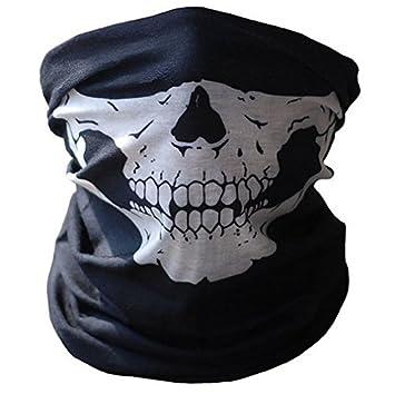 Máscara de esqueleto máscara de máscara facial Halstuch Tubo Half Skull máscara de máscara negro