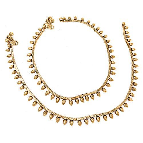 Ethnic Pakistani Indian Gold Plated Payal Anklet Pair Tear Drop -