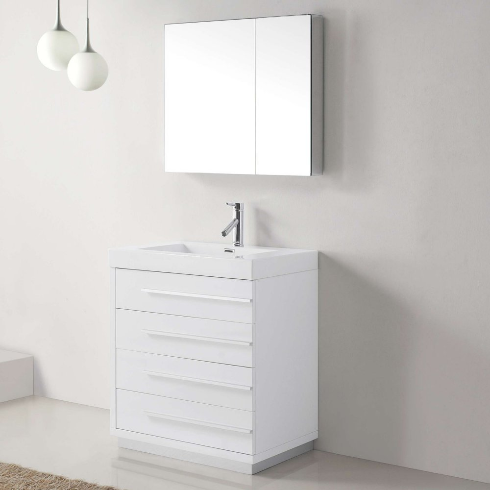 Virtu USA JS 50530 GW 30 Inch Bailey Single Sink Bathroom Vanity, Gloss  White   Mirrored Medicine Cabinet Double   Amazon.com