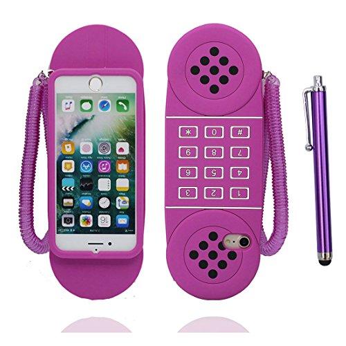 iPhone 7 Plus Coque, Étui iPhone 7 Plus 5.5 pouces, [ TPU Flexible 3D Cartoon pourpre téléphone ] glissement résistant aux rayures, Case iPhone 7 Plus et stylet