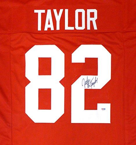SAN FRANCISCO 49ERS JOHN TAYLOR AUTOGRAPHED RED JERSEY PSA/DNA STOCK #130026