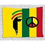 Rasta Tapestry by Ambesonne, Iconic Barret Reggae Jamaican Music Culture with Peace Symbol and Borders, Wall Hanging for Bedroom Living Room Dorm, 80 W X 60 L Inches, Red Marigold and Green