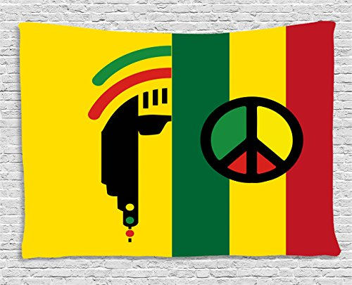 Pictures Peace Symbols - Ambesonne Rasta Tapestry, Iconic Barret Reggae and Jamaican Music Culture with Peace Symbol and Borders, Wall Hanging for Bedroom Living Room Dorm, 80 W X 60 L Inches, Red Green Yellow