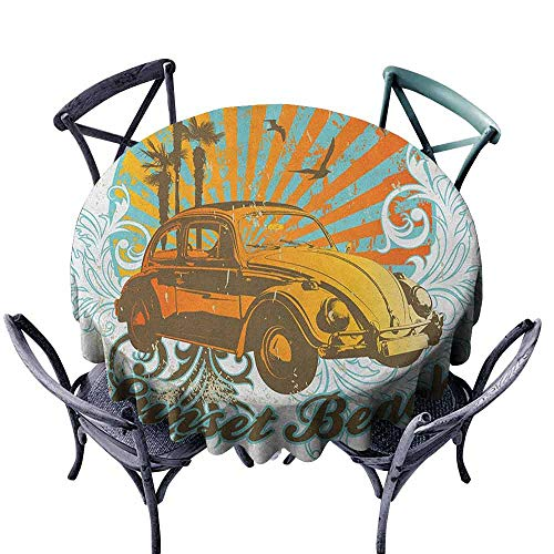 - duommhome Cars Fabric Dust-Proof Table Cover Summer Inspired Drawing with Retro Car Palm Trees Sunset Beach and Sun Rays Great for Buffet Table D71 Amber Orange Aqua