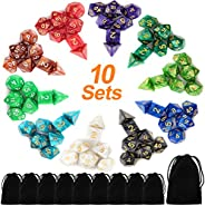 Awpeye 10 X 7 Polyhedral Dice Set (70 Pieces) for Dungeons and Dragons DND RPG MTG Table Games D4 D6 D8 D10 D%