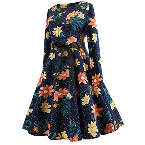 H Manches Hepburn pour De Manches Long Party Robe Mme Women Prom Hepburne Style fragra Casual Sleeve Longues Evening Femmes Longues Bleu Couture Print Swing Vintage Floral Dress rq1rwU