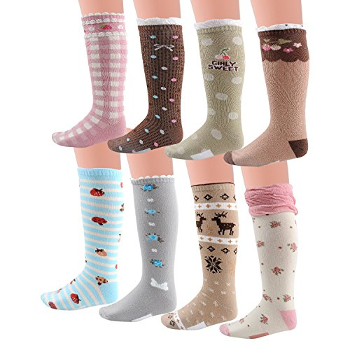 Deer Mum 8 Pairs Girls Princess Style Knee High Socks (Pack 8)-multicolor2 (S(3y-6y))