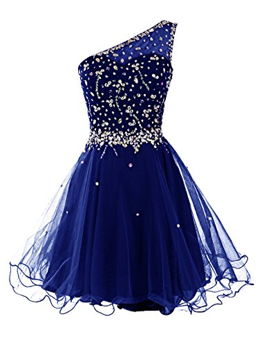 Ballkleid Abiballkleider Schulter Homecoming Kleider Cocktailkleid Kurz Royalblau Dresstells Damen Abendkleid EIN xqI86FR