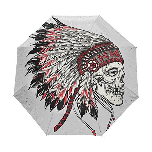 Elephants Parasol Art T-shirt - Native American Indian Art Prints UPF 50+ Anti-UV Parasol Waterproof Windproof 3 Folds Auto Open Close Lightweight Umbrella