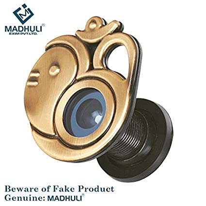 MADHULI Ultra Clear 180 Degree Door Eye/Viewer (Antique Brass Finish) Om with Ganesha Model for Safe and Secure Home with Spritual Combo Offers