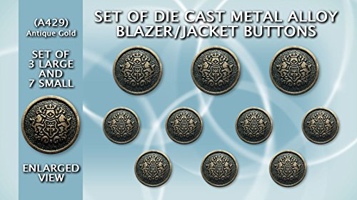 Set of Die Cast Metal Blazer Buttons A429 - Medium Weight - Set of Antique Gold ()