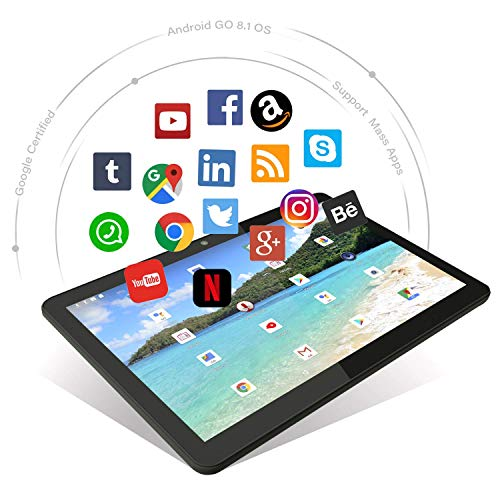 Android Tablet 10 Inch, 5G WiFi Tablet, 16 GB Storage, Google Certified, Android 8.1 Go, Dual Camera, Bluetooth, GPS - Black