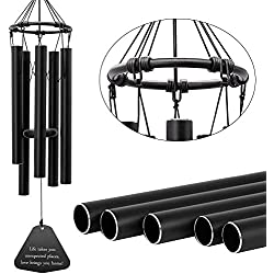 Astarin Wind Chimes Outdoor Deep Tone, Memorial Wind Chime with 5 Metal Tuned Tubes, Elegant Wind Chimes for People Who Like Their Neighbors, Metal Wind Bell Chime for Home, Garden Decoration.