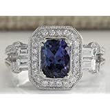 Sumanee Women Jewelry 925 Sterling Silver Huge Blue Sapphire Bridal Engagement Gift Ring (6)