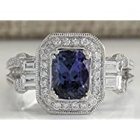 khamchanot Women Jewelry 925 Silver Huge Blue Sapphire & White Topaz Bridal Engagement Ring (7)