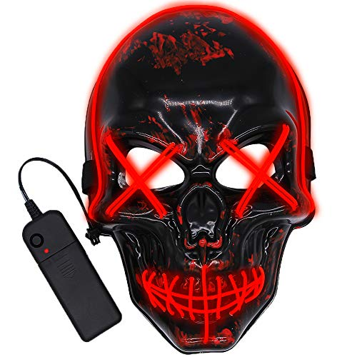 JoinBo LED Purge Mask Halloween Skull Scary Mask Cosplay Led Costume Mask EL Wire Light up for Halloween Festival Party Black