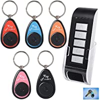 Key Locator/Finder, LingsFire Portable Wireless Key Finder RF Item Locator Including Remote Control, Base Support and 5 Keychain Receivers with LED flash and Beep Alarm