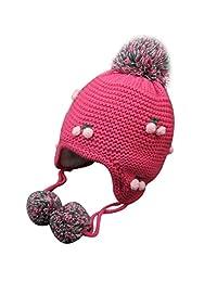 Susenstone Winter Baby Earflap Girl Peach Children Hat Knit Hat Cold Cap Warm