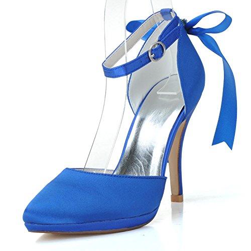 L@YC Frauen-Hochzeits-Schuh-Band # 0255-28 Plattform-nahe Zehe / Silk Round Top-Hochzeits-Gewohnheit Blue