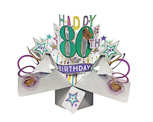 Second Nature Pop Ups Happy 80th Birthday Pop Up Card